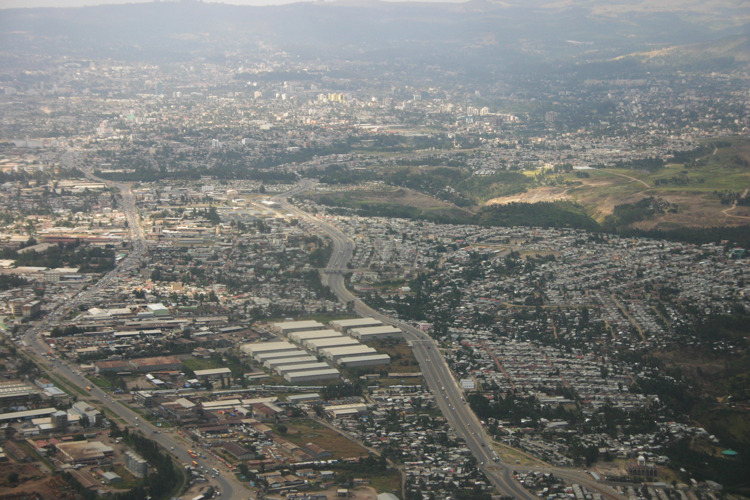 PHOTO BY JERRY SCHARF | View from plane approaching airport at Addis Ababa, Ethiopia